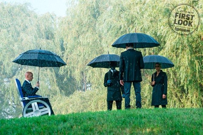 X-Men: Dark Phoenix<br /> Charles Xavier (James McAvoy), Nightcrawler (Kodi Smit-McPhee), Cyclops (Tye Sheridan, back to camera), and Storm (Alexandra Shipp)