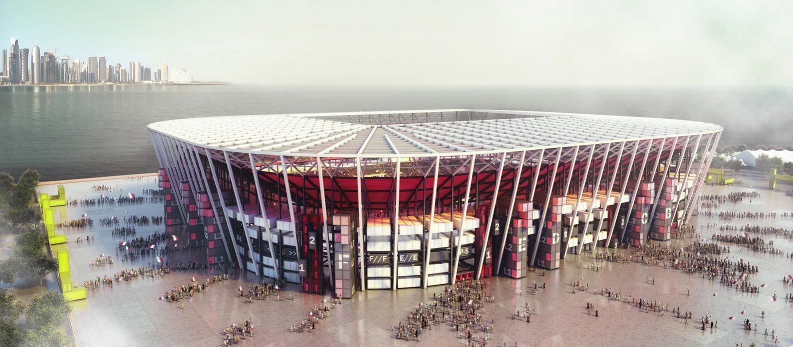 WM 2022: Katar baut Fußball-Stadion aus Schiffs-Containern