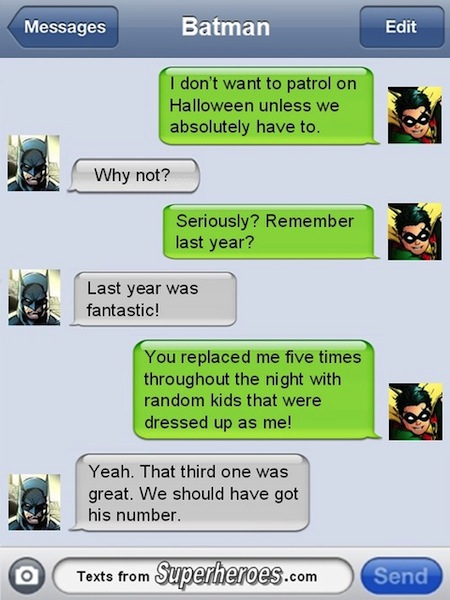 superheroes being super a-holes, superheroes being jerks funny, batman robin text exchange halloween