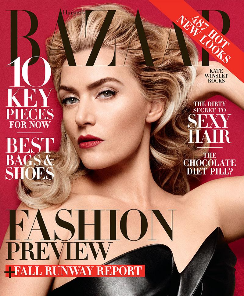 Kate Winslet smolders on the cover of Harper's Bazaar