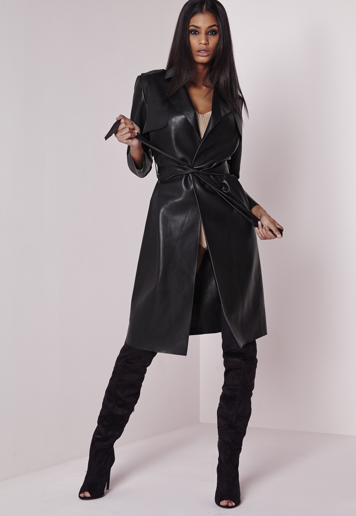 Peace + Love Faux Leather Trench Coat Black