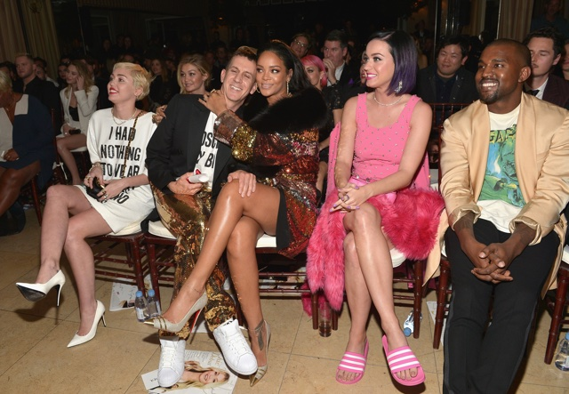 WEST HOLLYWOOD, CA - JANUARY 22:  (L-R) Recording artists Miley Cyrus, honoree Jeremy Scott, recording artists Rihanna, Katy Perry and Kanye West attend The DAILY FRONT ROW