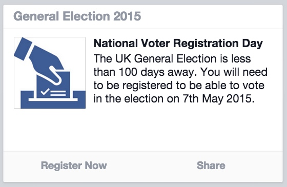 Facebook will urge every adult to vote in the General Election