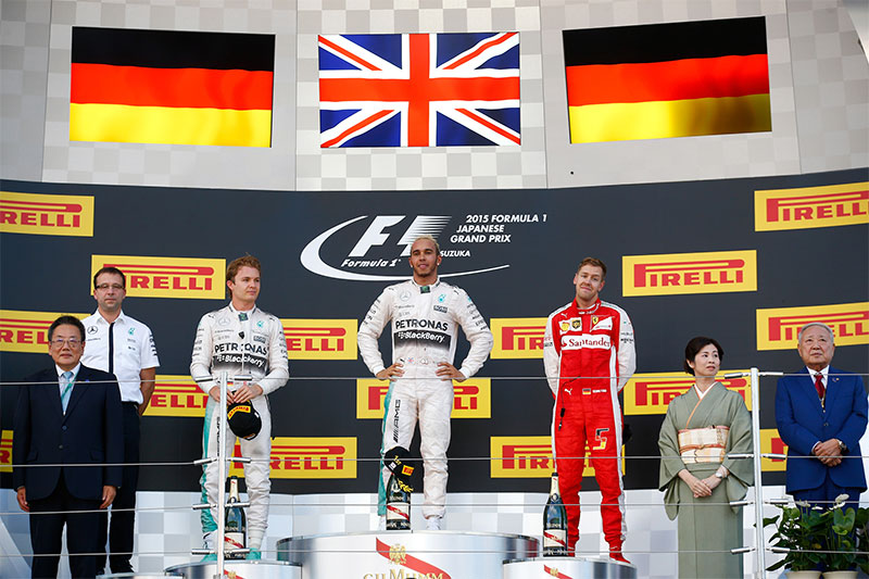 The podium at the 2015 Japanese Grand Prix.