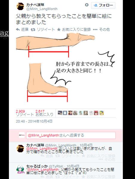 【人体の不思議トリビア】ヒジから手首の長さは足の大きさとほぼ同じ!