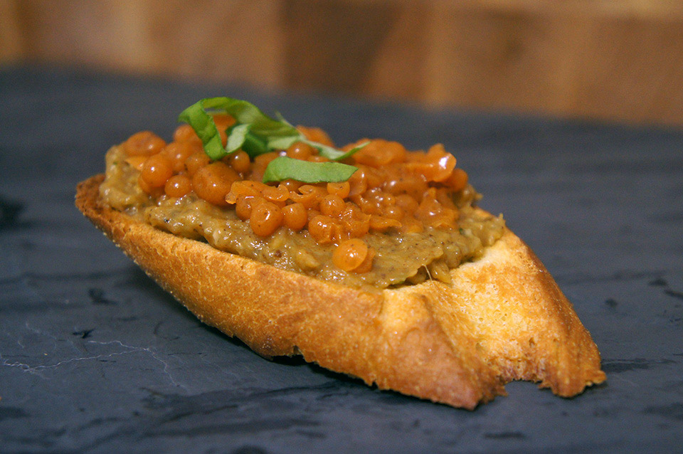 Cooking with Watson: Turkish Bruschetta with carrot pearls