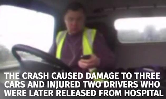 【ビデオ】携帯電話に気を取られて玉突き事故を起こしたトラック運転手の車載カメラ映像が公開