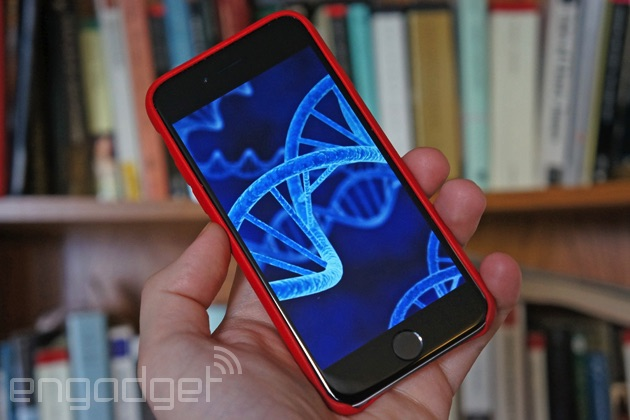 DNA on an iPhone screen