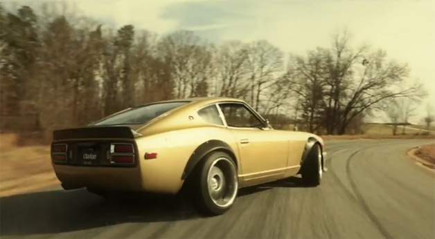 Screencap of a Clarion ad featuring Chris Forsberg drifting a custom Nissan 280Z