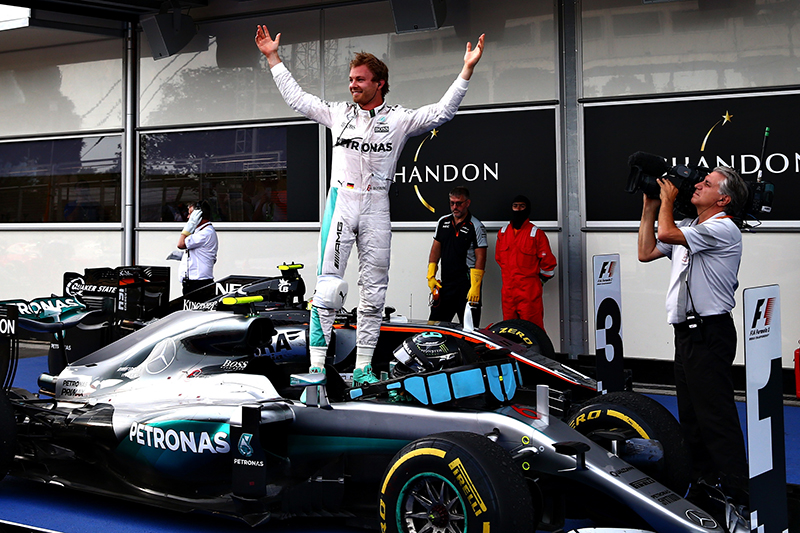 Nico Rosberg of Germany and Mercedes GP celebrates his win in parc ferme during the European Formula One Grand Prix at Baku City Circuit on June 19, 2016 in Baku, Azerbaijan