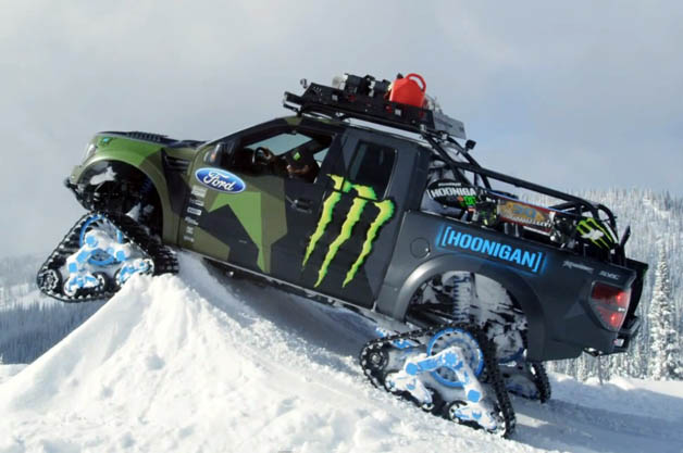Ken Block Hoons His Ford F 150 Raptortrax On The Slopes
