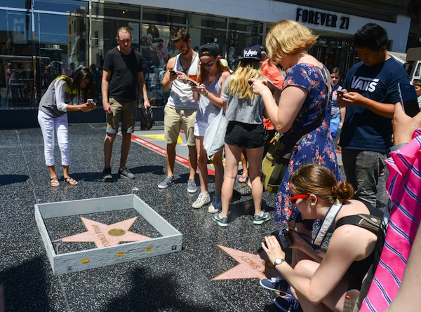 Trump's Hollywood Walk of Fame star gets walled in