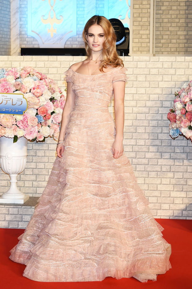 Lily James finishes the Cinderella press tour like a Princess should