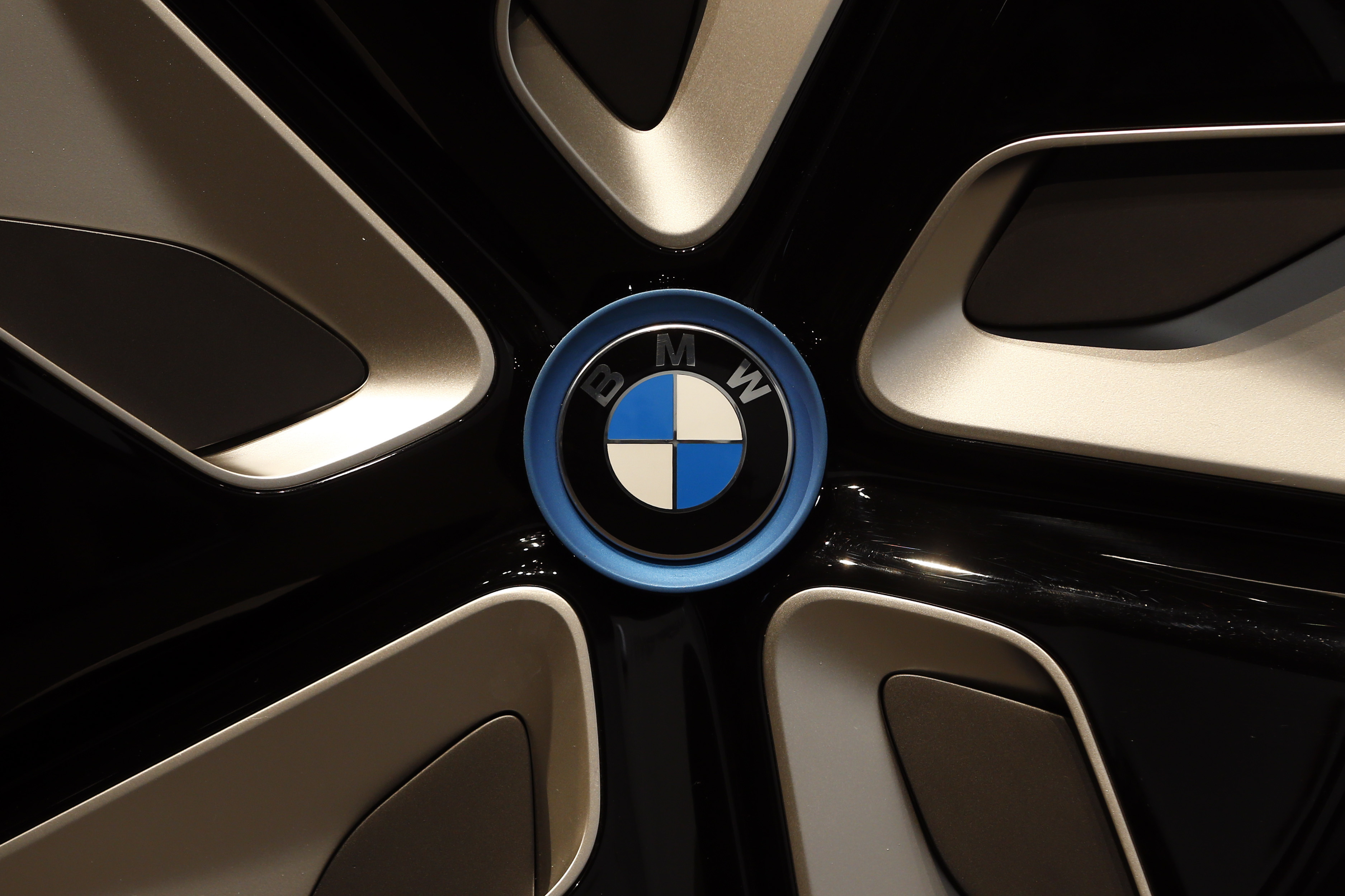 The logo of the German car manufacturer BMW is photographed at a BMWi Vision Future Interaction concept car during the full-year earnings in Munich, Germany, Wednesday, March 16, 2016. (AP Photo/Matthias Schrader)