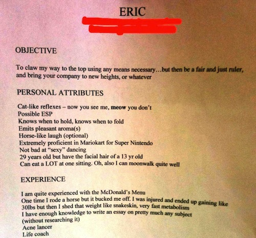 resume fails, resume red flags, funny resumes