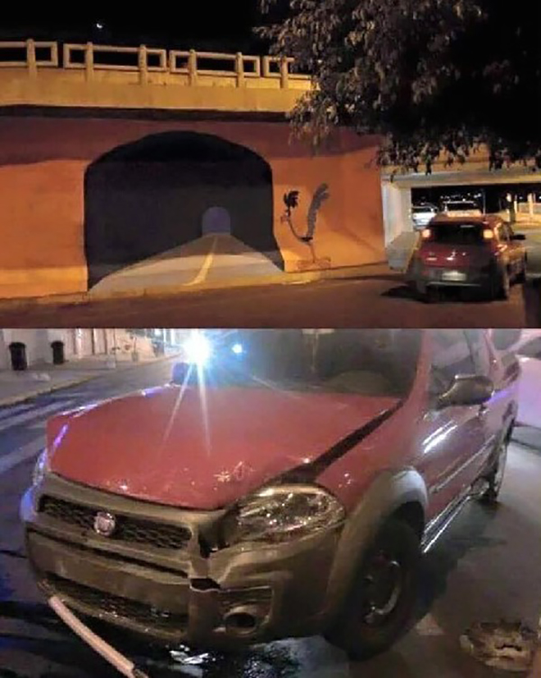 guy tries driving through painted roadrunner tunnel
