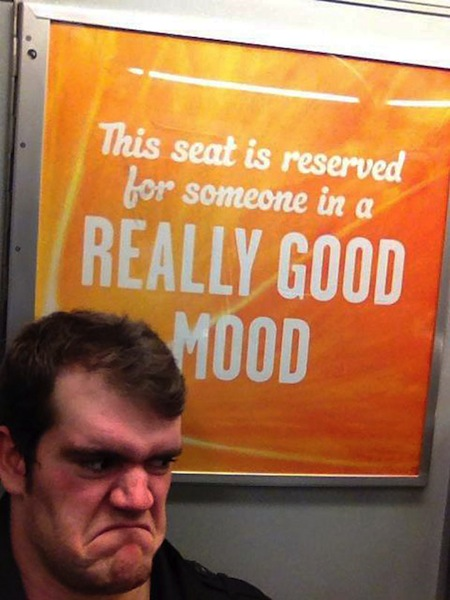 people obeying signs to a fault, funny acting out signs, seat reserved really good mood