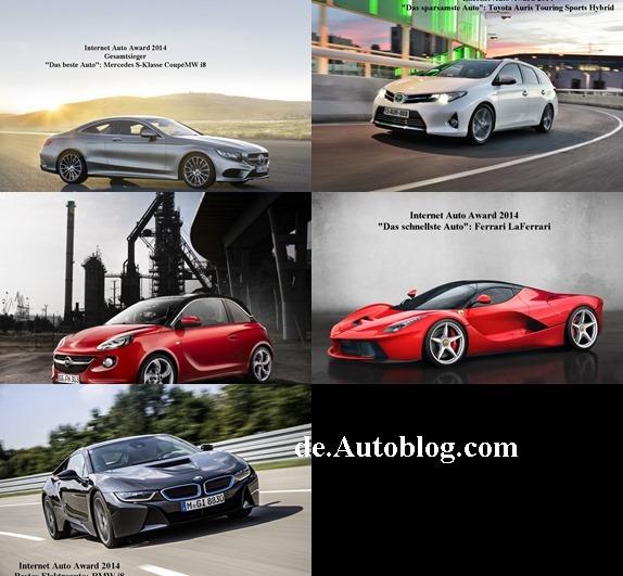 Auto Internet Award, BMW i8, Mercedes S-Klasse Coupé, autoscout24, das beste Auto, die besten autos, Mercedes S-Klasse Coupé, Toyota, Opel adam, auto internet award 2014