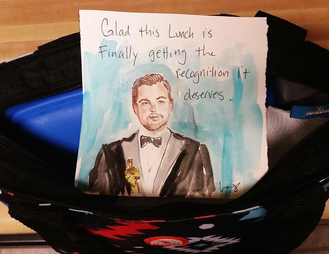 artist lunch notes for husband, leonardo dicaprio oscar artist lunch note