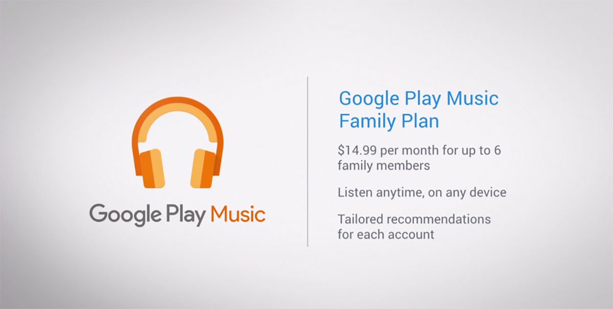 Google Play Music family plan gives six people tunes for $15 a month