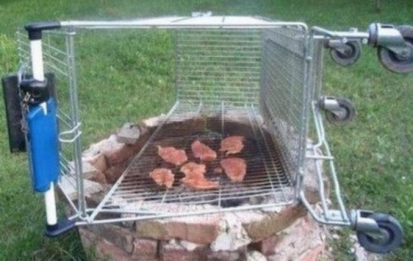 life hacks for assholes, life hacks for a-holes, shopping cart grill