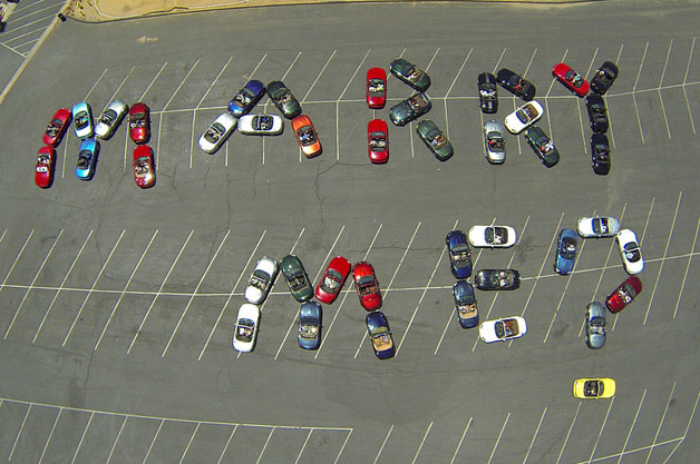 Marry Me? spelled out in Miatas