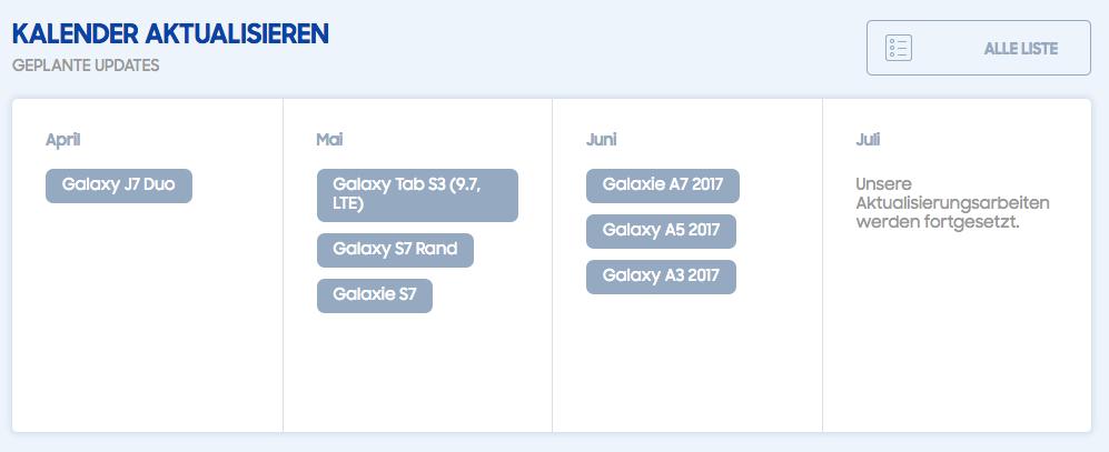 Oreo Updates für Galaxy S7 im Mai, A7, A5 und A3 im Juni