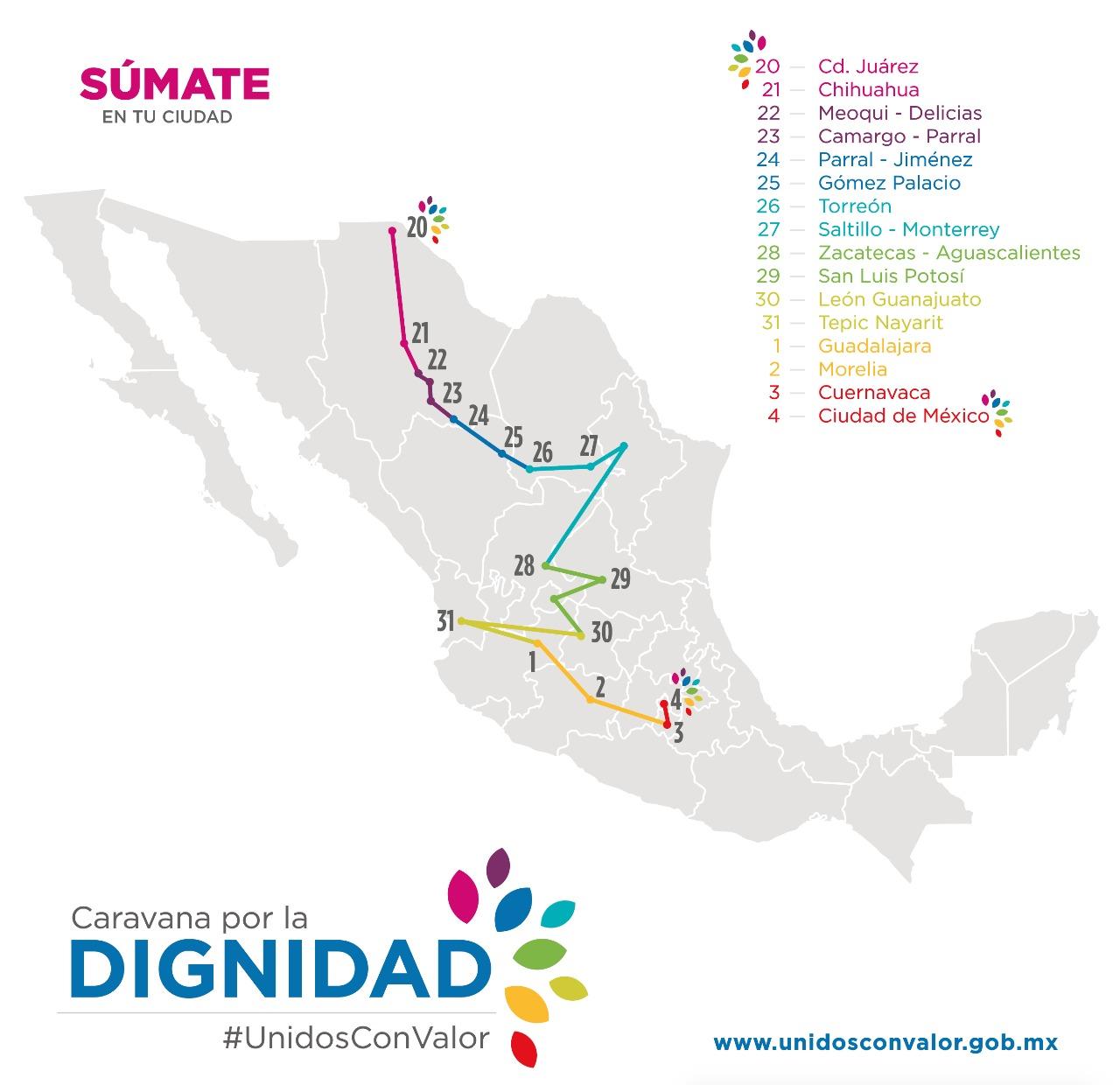 Avanza caravana de Chihuahua a CDMX