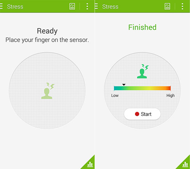 Samsung S Health stress tracking