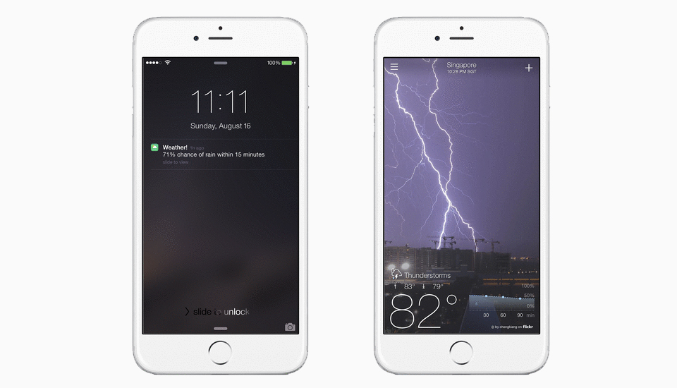 Yahoo Weather warns you about rain in time to find an umbrella