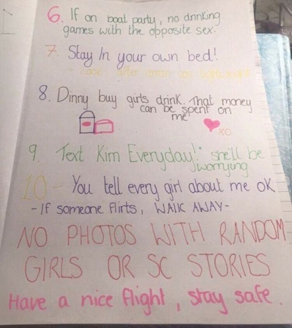 Dude's Girlfriend Gives Him The Craziest List Of Rules Before Setting Off On A Vacation Without Her