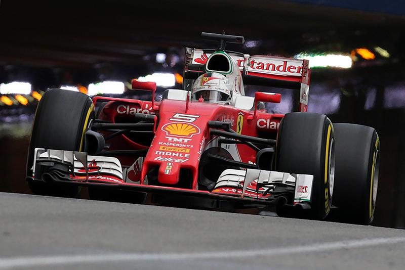 Ferrari's German driver Sebastian Vettel drives at the Monaco street circuit, on May 29, 2016 in Monaco, during the Monaco Formula 1 Grand Prix.