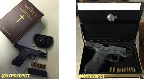 聖書の中にマリファナ、ナイフ、拳銃と弾丸10発が隠されていた!