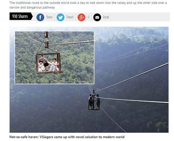 これは怖い… お手製ケーブルカーで高所移動する中国の村人たち
