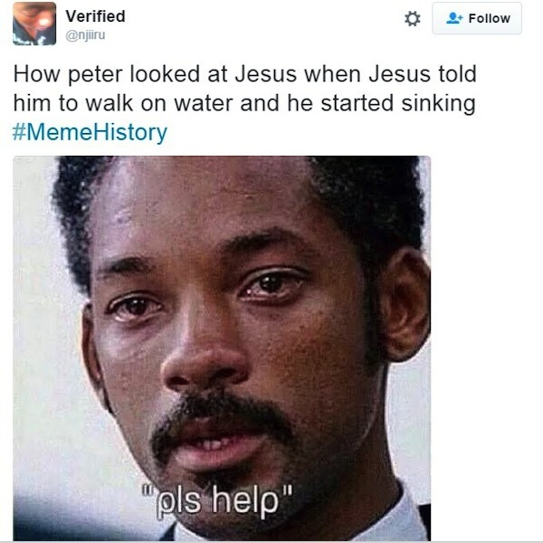 best of memehistory, #memehistory meme, jesus peter walk on water will smith memehistory