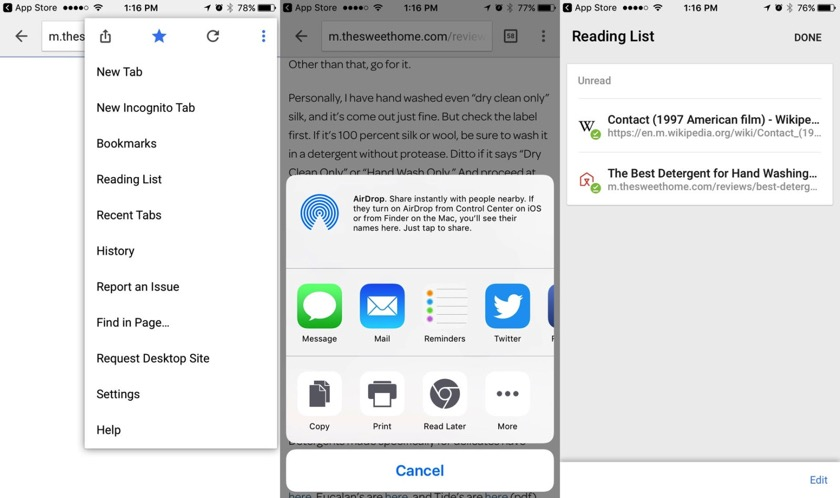 Chrome für iOS jetzt mit Leseliste