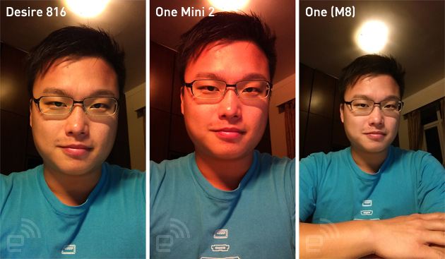 Selfie comparison with the HTC Desire 816, One Mini 2 and One (M8).