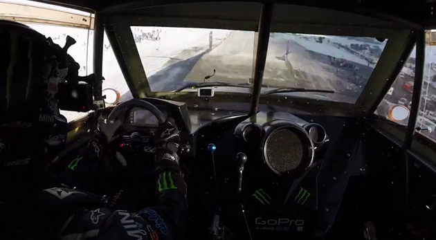 Moments before impact in Guerlain Chicherit's GoPro jump