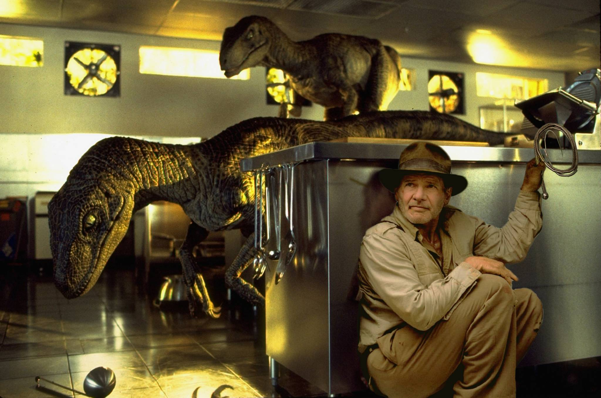 indiana jones fridge pose photoshop battle, indiana jones raptors jurassic park