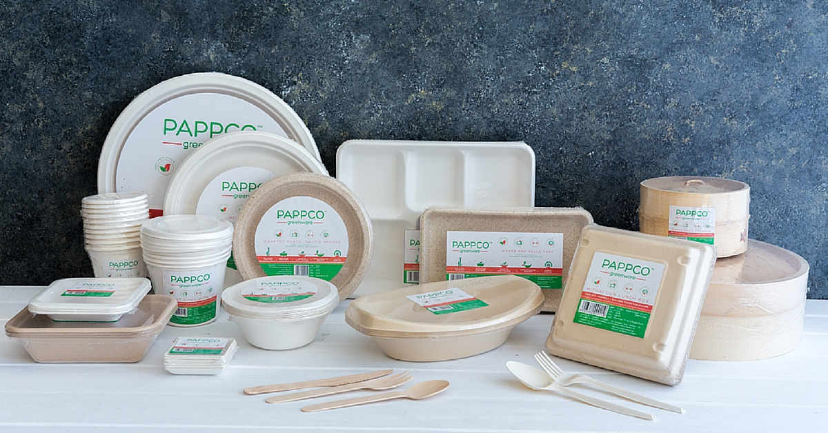 These eco friendly containers made of sugarcane are for Make a product from waste material