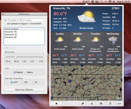 Daily App: WeathrClip brings the current weather conditions to your Mac's Menu Bar
