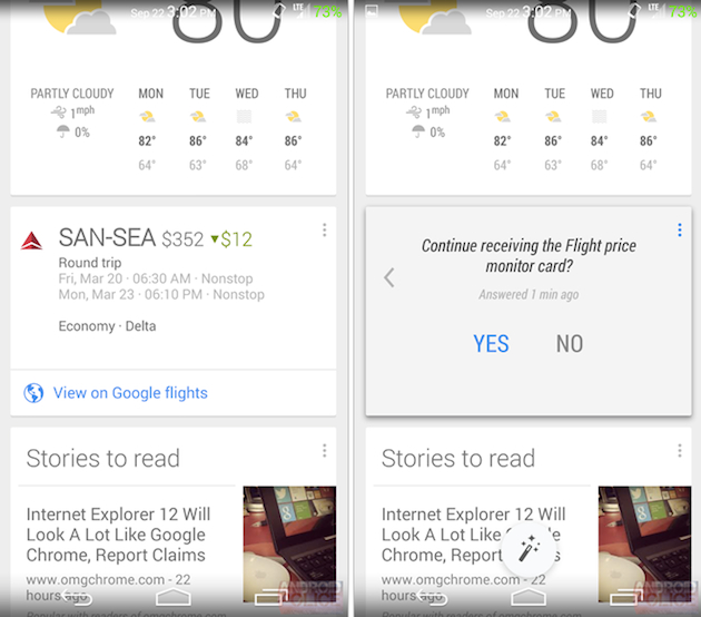 Google Now's latest trick is finding you a cheaper flight