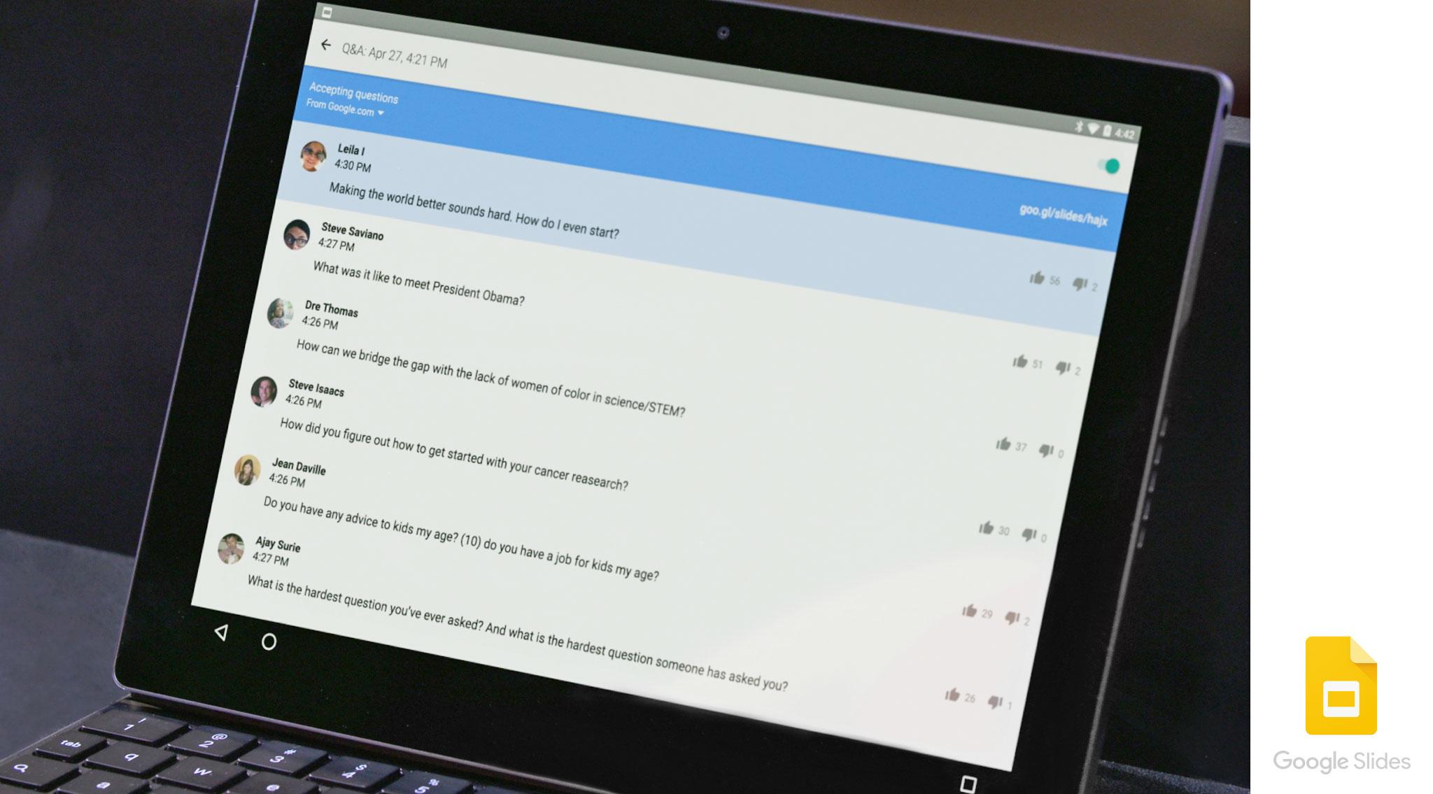 Google Slides has a new audience participation Q&A feature