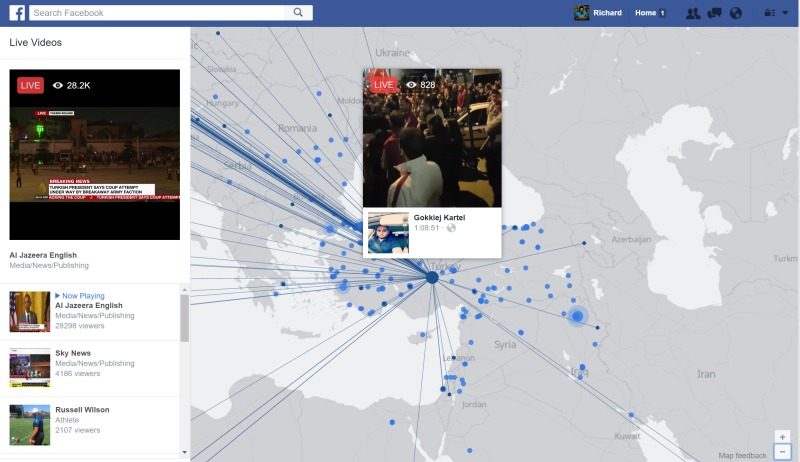 Facebook.com/live page showing streams from Turkey