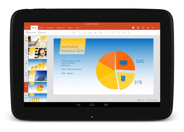 Microsoft PowerPoint on an Android tablet