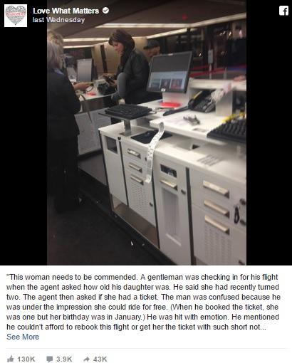 娘の分の航空券を購入するお金を持ち合わせていなかった男性に救いの手が・・・