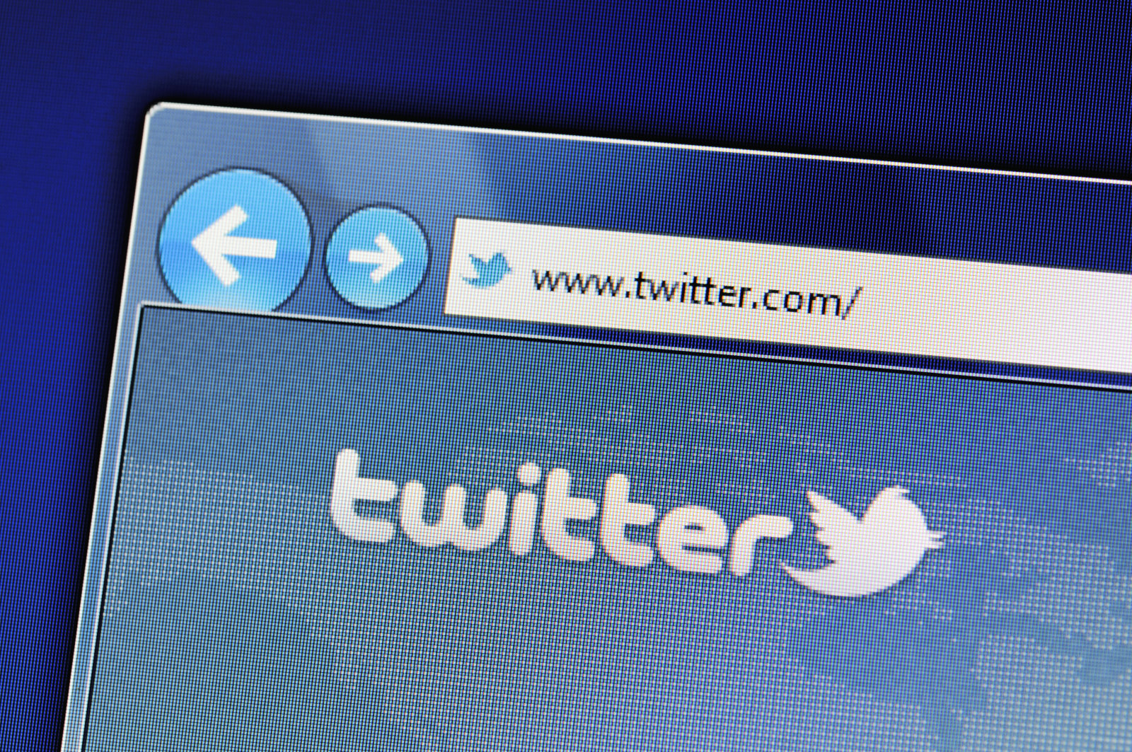 """""""Muenster, Germany - May 23, 2011: The twitter website is displayed in web browser on a computer screen. Twitter is a social networking and microblogging service and enabling its users to send and read messages."""""""
