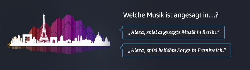 Alexa kennt jetzt die beliebtesten Tracks großer Metropolen und Länder