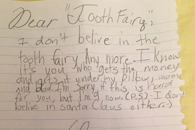 girl tooth fairy note
