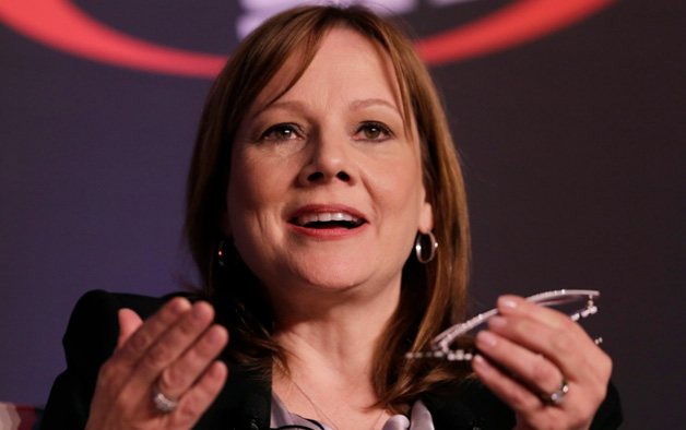Mary Barra speaks Tuesday at the Automotive Forum in New York.